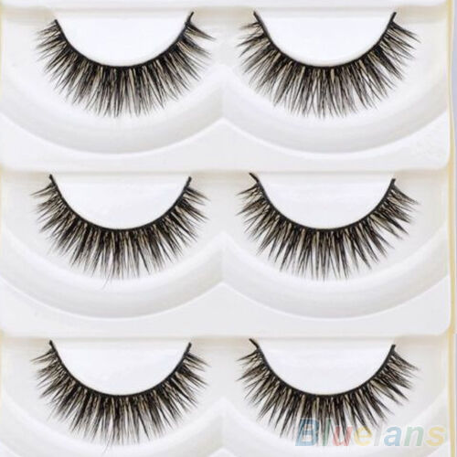 5 Pair Vogue Long Thick Cross Makeup Eye Lashes Extension Makeup False Eyelashes