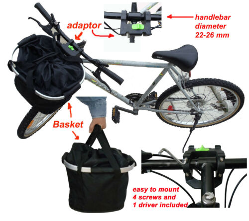collapsible bike basket made of  aluminum frame and black fabric bicycle