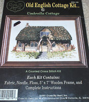 umbrella Floral Old English Country Cottage Cross Stitch Kit W/ Wood Frame 5x7