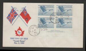 Canada 1952 7c Goose plate block FDC unusual cachet