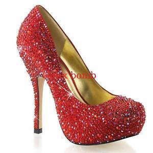 5 à Plateau De Glamour Hidden Sexy 13 35 Decolte Red 'Strass Heel 42 wxvqA0I