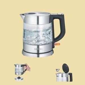 Severin-Glas-Wasserkocher-WK-3468-1-0-Liter-Glas-Edelstahl-gebuerstet-schwarz
