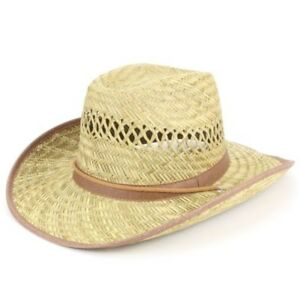 1747f5383 Details about Cowboy Hat Straw Hawkins Black Brown Band Summer Fedora Brim  Bush