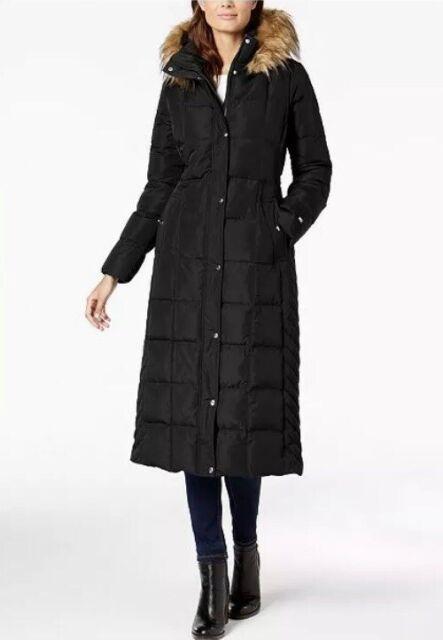 Tommy Hilfiger Womens Classic Chevron Down Coat With Faux Fur Trim Hood