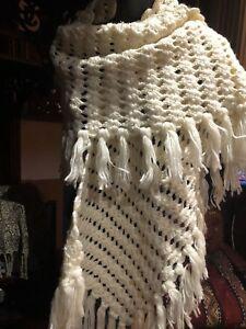 Antique Vintage Blanc Crochet Franges Châle Écharpe MatéRiaux De Qualité SupéRieure