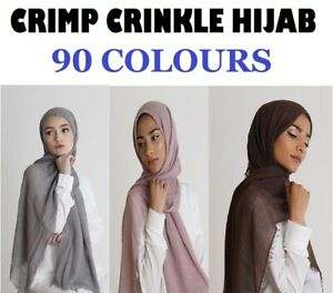 HIGH QUALITY Crinkle Crimp Scarf Hijab Headscarf Maxi Plain Scarves Shawl Ruffle