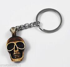 1 x Skull Keyring Resin Skeleton Keychain Saddle Brown 100mm - SKR001