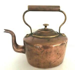 Antique Victorian Era Solid Copper Tea Kettle Kitchen Decorative Display W Lid Ebay
