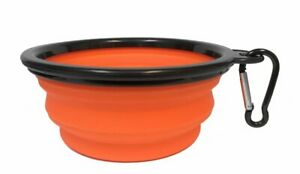 Collapsible Travel Pet Bowl with Clip Orange 5 Inch Diameter