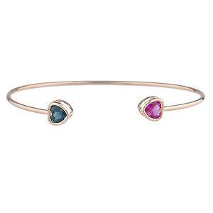 14Kt-Rose-Gold-Plated-Pink-Sapphire-amp-London-Blue-Topaz-Heart-Bezel-Bangle