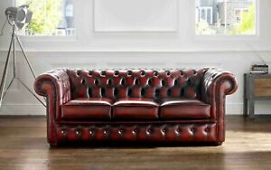 New-Chesterfield-3-Seater-Sofa-Settee-Couch-Antique-Oxblood-Red-Real-Leather