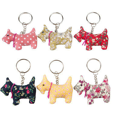 Scottie Dog Vintage Fabric Keyring Birthday Gift Collectable By Sass & Belle