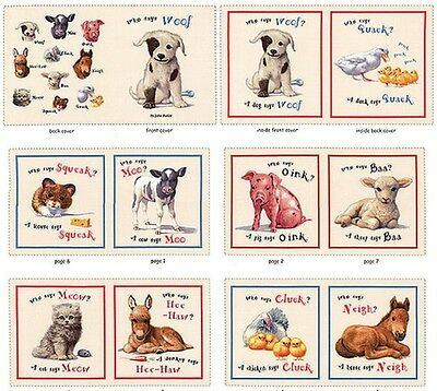 1 Yard Quilt Cotton Fabric- ES Animal Friends Who Says Woof Animal Book Panel