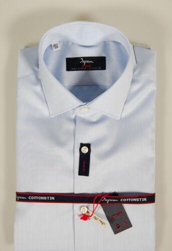 Camicia moda Ingram Slim Fit Celeste Cotone No Stiro Cottonstir Taglia 43 XL