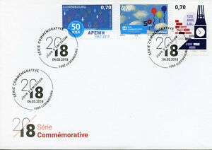 Luxembourg-2018-FDC-SOS-kannerduerf-apemh-LGL-Anniversaires-3-V-Cover-STAMPS