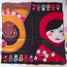 H.DUE.O ORIGINALE ITALIANO 100% SETA sciarpa foulard MATRIOSKA COLLECTION IDEA REGALO