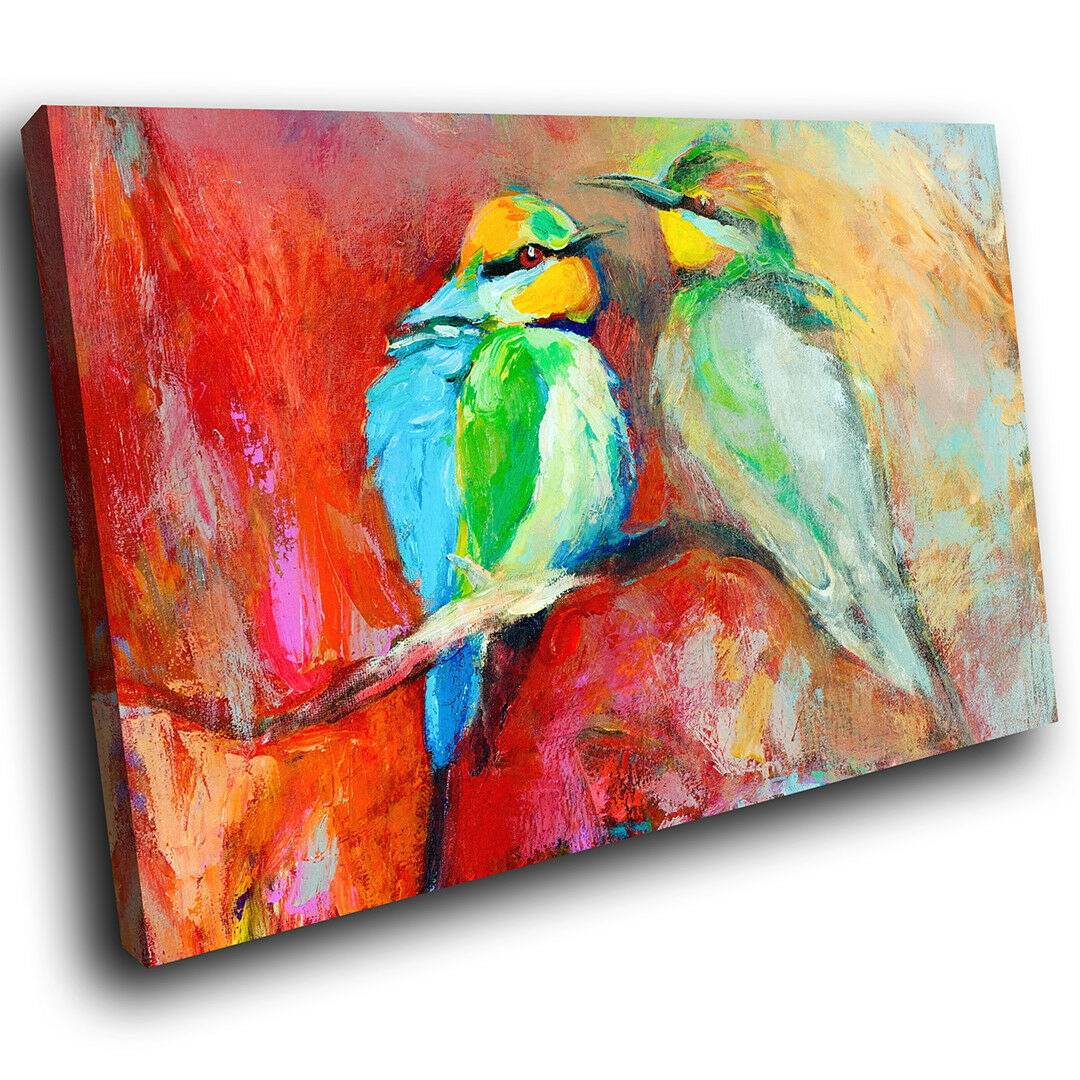 A223 Blau rot Birds Abstract Funky Animal Canvas Wall Art Large Picture Prints