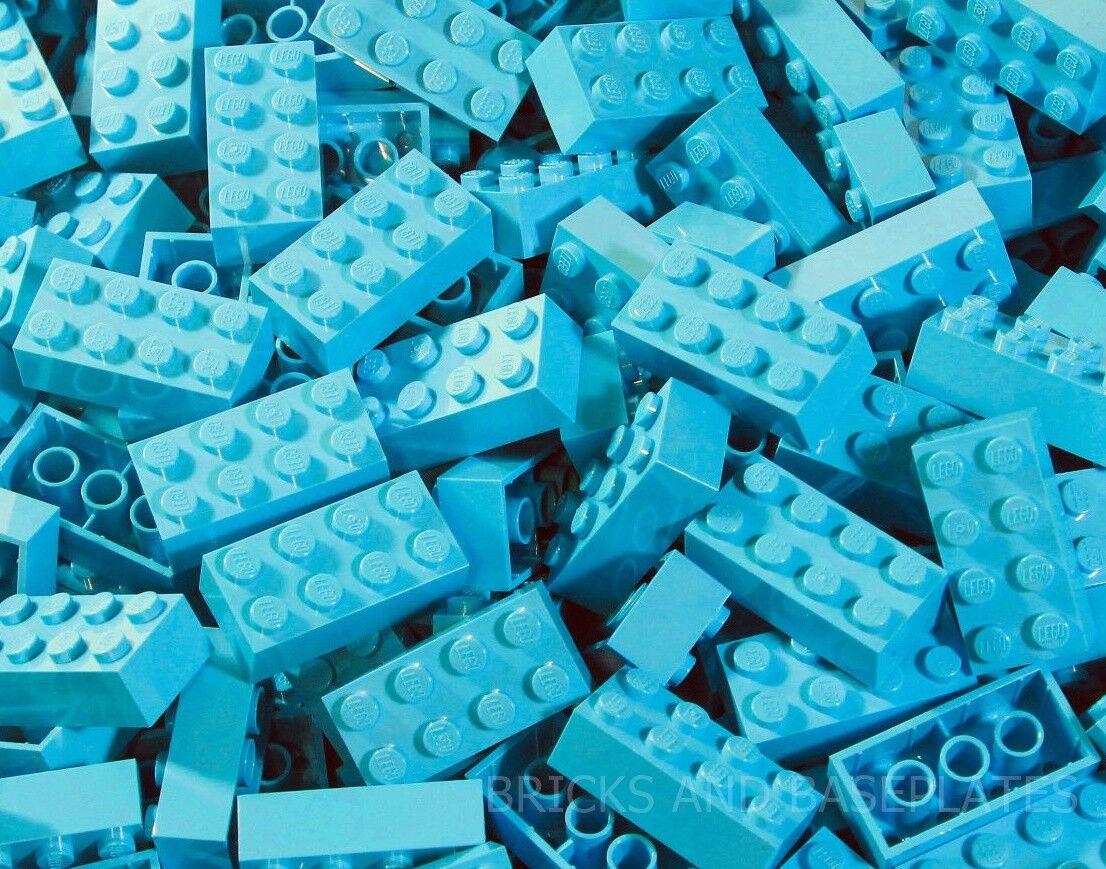 LEGO Mattoni 200 x MEDIO AZZURRO  2x4 PIN-DA SET DI nuovo inviato in un sacchetto trasparente sigillati  garanzia di credito