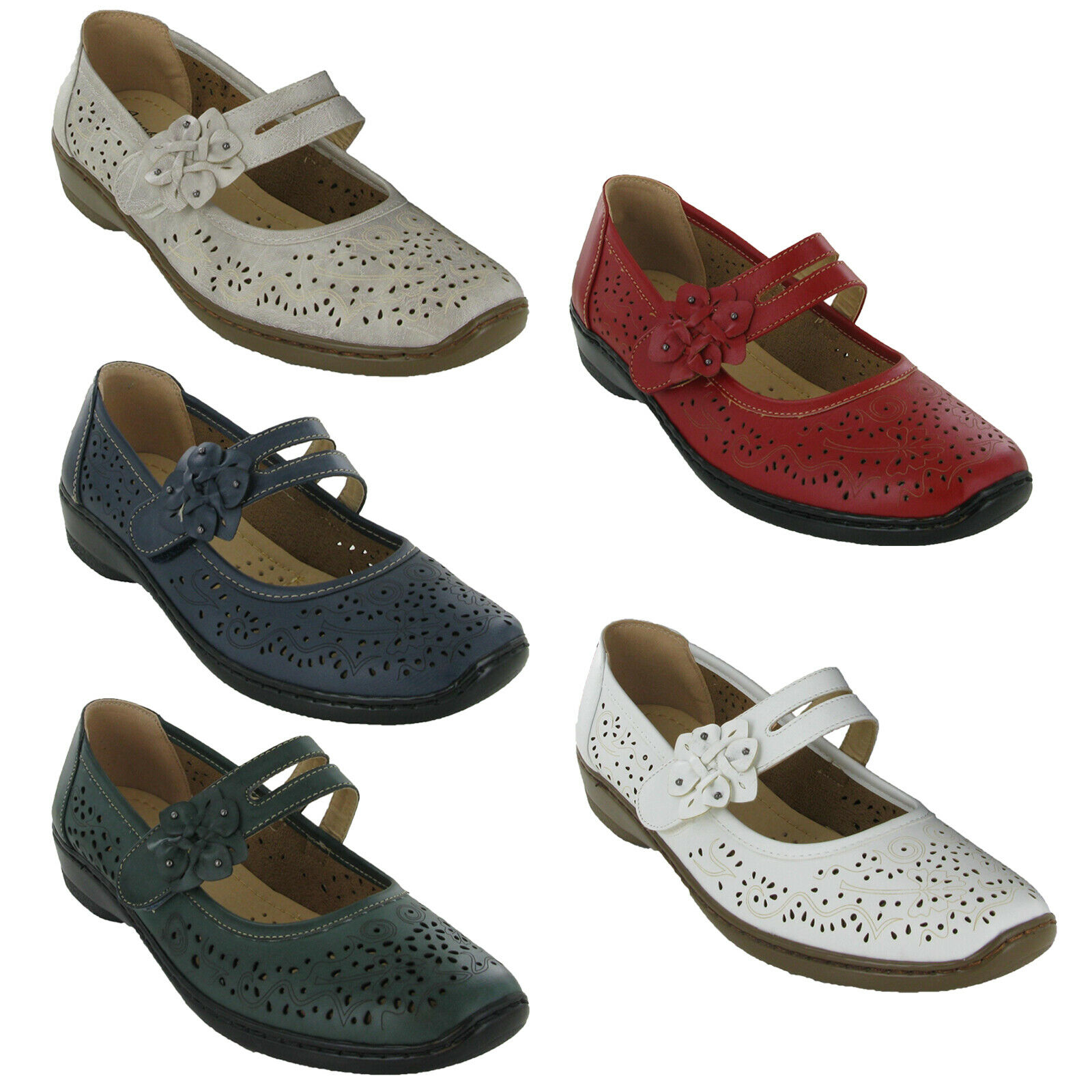 Annabelle Womens Tamsin Shoe Plus Comfort Low Wedge Heel Lightweight UK3 - 8
