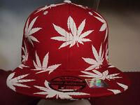 Joy Cap Womens / Mens  Pot Leaf Baseball Cap Red /white Snap Back