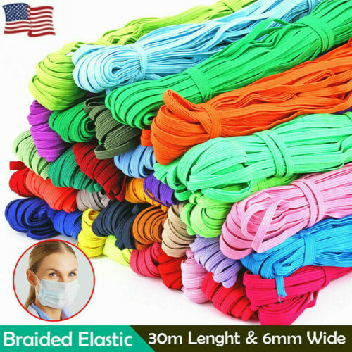 33 Yard Coloured Flat Elastic Cord Band 6mm Elastic Sewing Dressmaking Tailoring