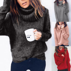 Image is loading Womens-Turtle-Neck-Knitted-Sweater-Oversized-Winter-Baggy- 099003d47