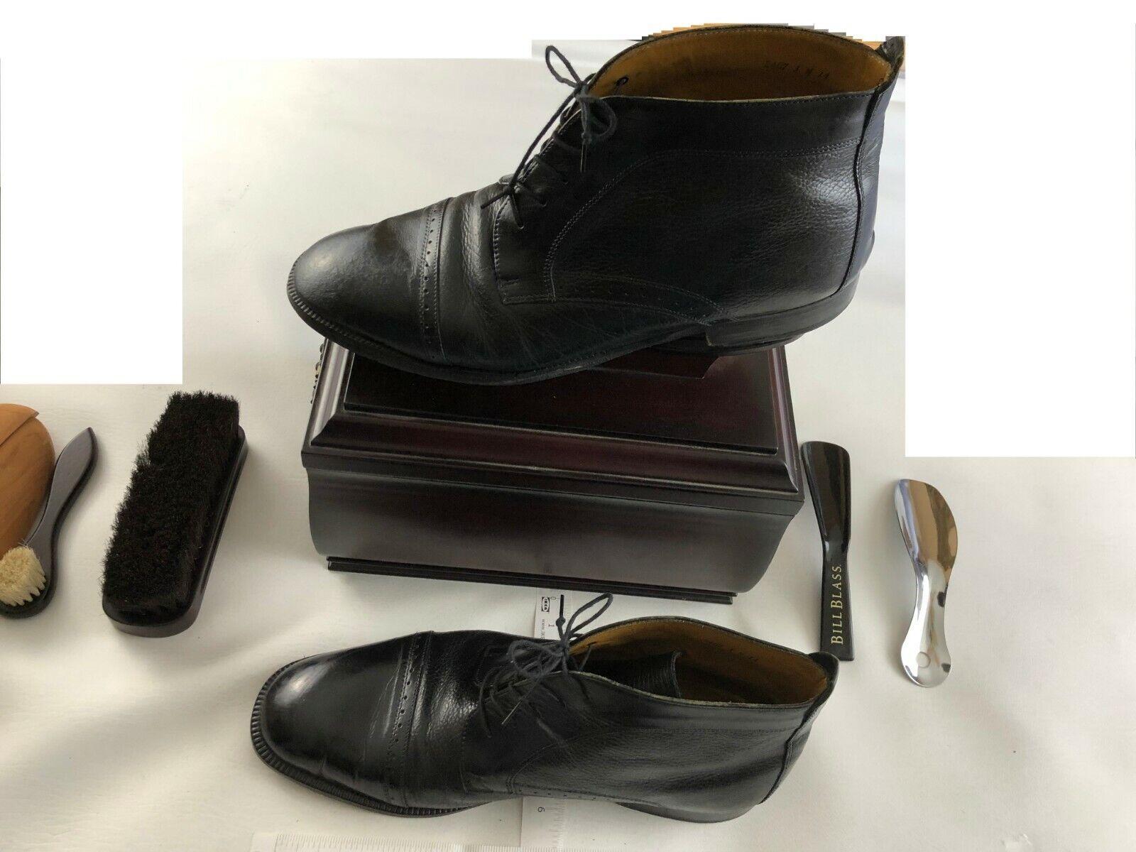 STANLEY BLACKER MEN'S DRESS BOOTS Size 14 M Genuine Leather Black