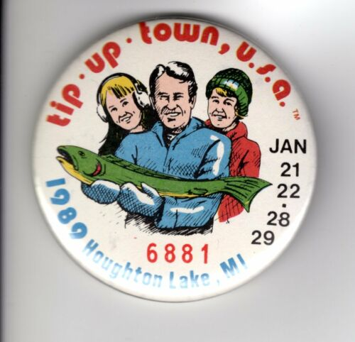 1989 TIP UP TOWN BADGE PIN PINBACK-MICHIGAN DNR DEER BEAR FISHING PATCH LICENSE