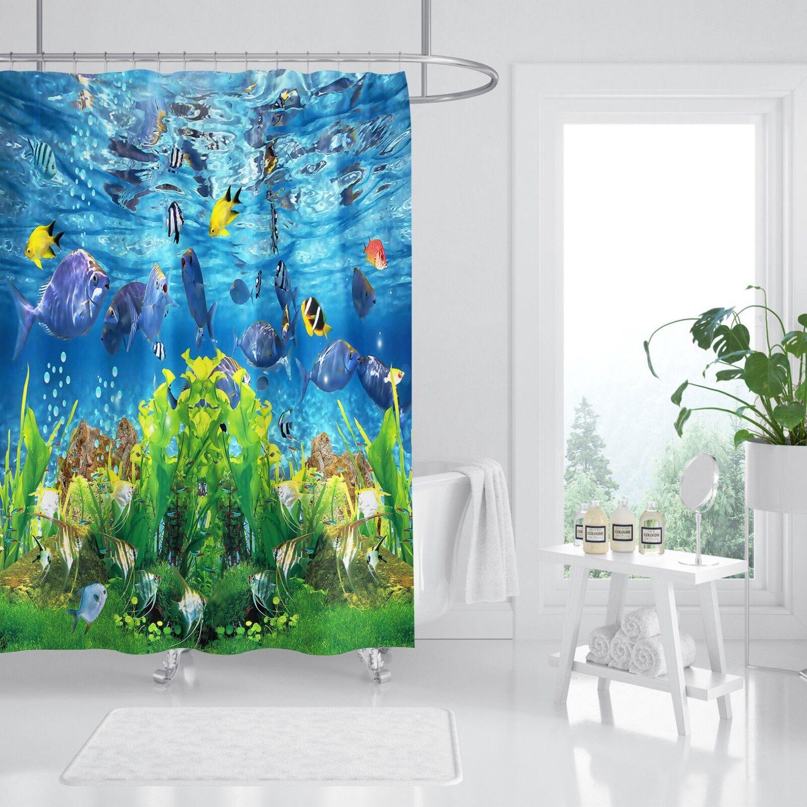 3D Sea Coral 4 Shower Curtain Waterproof Fiber Bathroom Home Windows Toilet