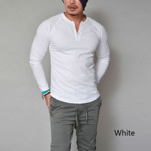 New Men/'s Slim Fit V Neck Long Sleeve Muscle Tee T-shirt Casual Tops Blouse