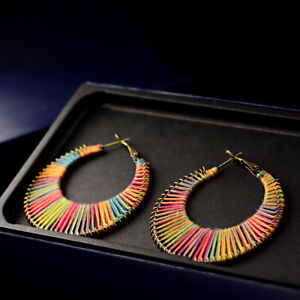 Fashion-Geometric-Colorful-Round-Cotton-Hoop-Earrings-Women-Wedding-Jewelry-Gift