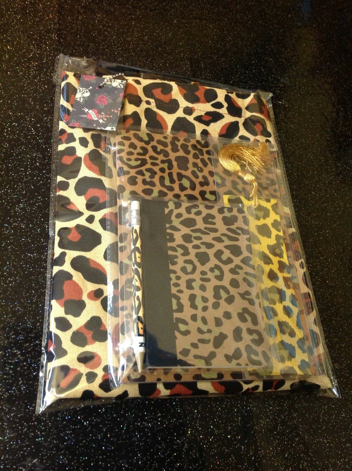 Retro Rockabilly Leopard Print Tote Bag +2 Notebooks +Pencil +Bookmark 5pc Set