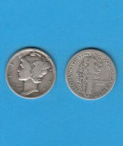 $ Etats-unis One Mercury Dime 1940 Philadelphia Silver Coin Usa Effet éVident