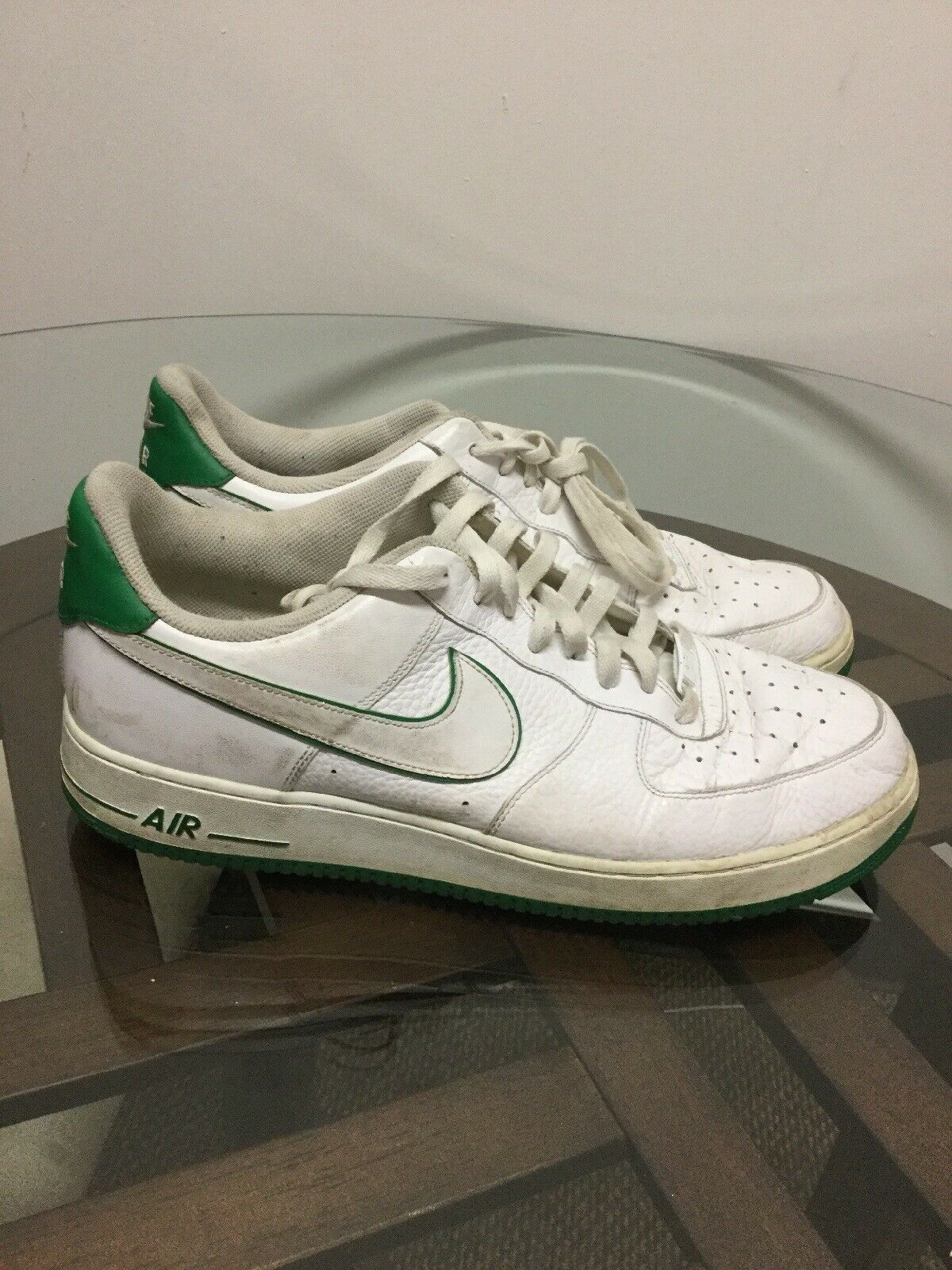 "Nike Air Force 1 Mens Size 14 ""White Gorge Green  488298-102 Leather shoes"