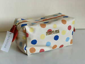 NEW-KENNETH-COLE-REACTION-POLKA-DOT-SHADOW-BOX-TRAVEL-MAKEUP-COSMETIC-POUCH-CASE