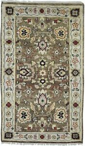 Wool-Brown-Rug-5-039-X-8-039-Persien-Hand-Knotted-Oushak-Oriental-4-039-6-034-X7-039-9-034-Carpet