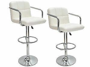 2 White Bar Stools Leather Modern Hydraulic Swivel Pub Chair Barstool W/  Armrest