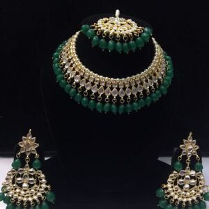 Green-Kundan-Necklace-Earrings-Tikka-Bridal-Indian-Choker-Fashion-Jewelry-Set