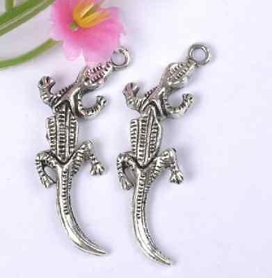 NP137 Wholesale Lots 10pcs Tibetan Silver crocodile Charm Pendant 40X12MM