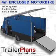 Trailer Plans - 4m ENCLOSED MOTORBIKE TRAILER PLAN- Trailer Build - PLANS ON USB