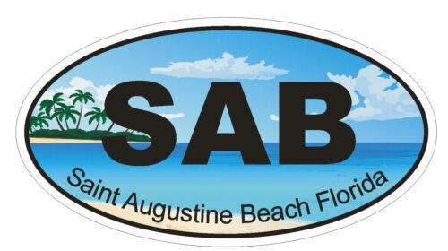 Saint Augustine Beach Florida Oval Bumper Sticker or Helmet Sticker D1176