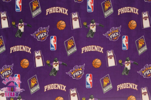 NBA Phoenix Suns Purple Toss Fleece Fabric