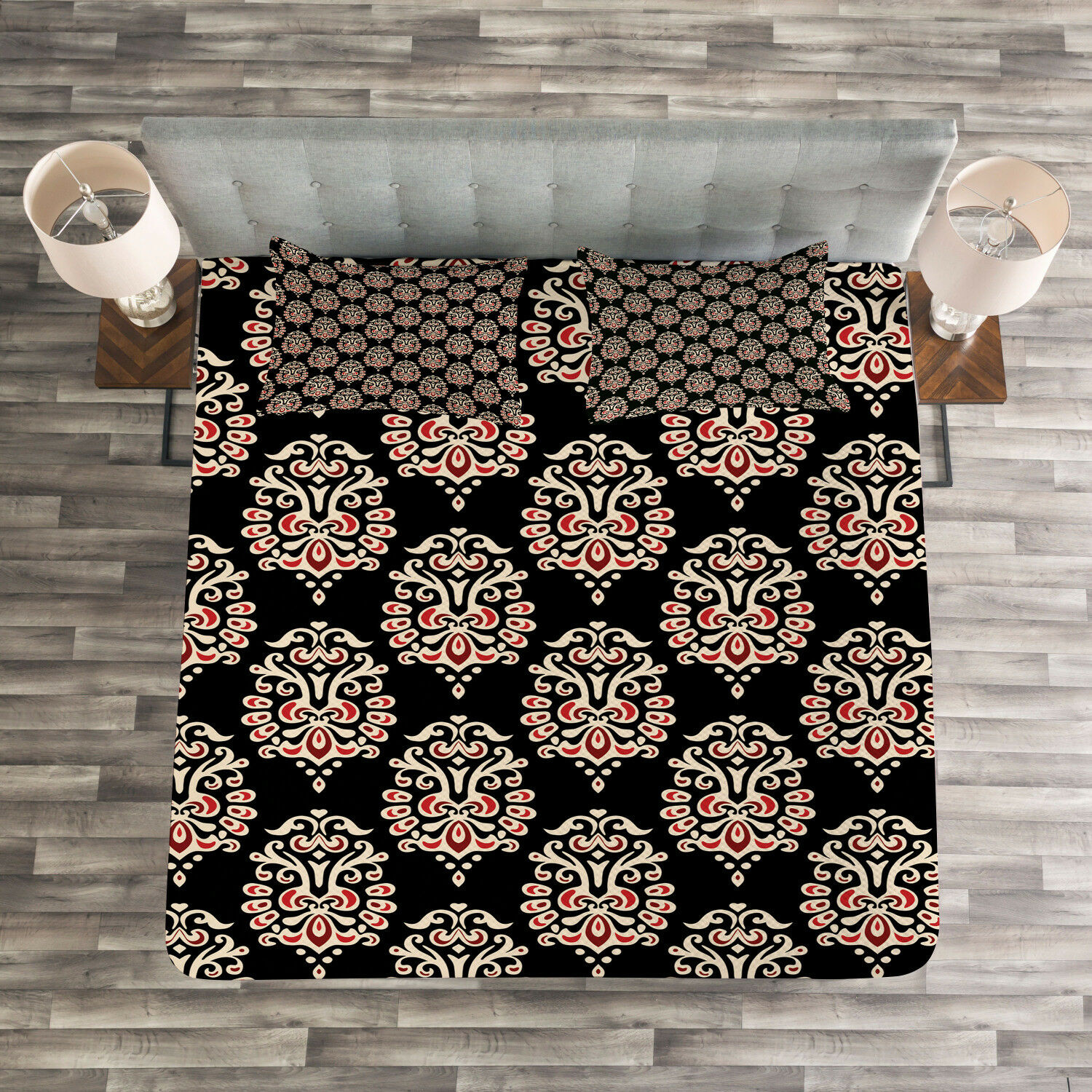 Damask Quilted Bedspread & Pillow Shams Set, Traditional Abstract Print