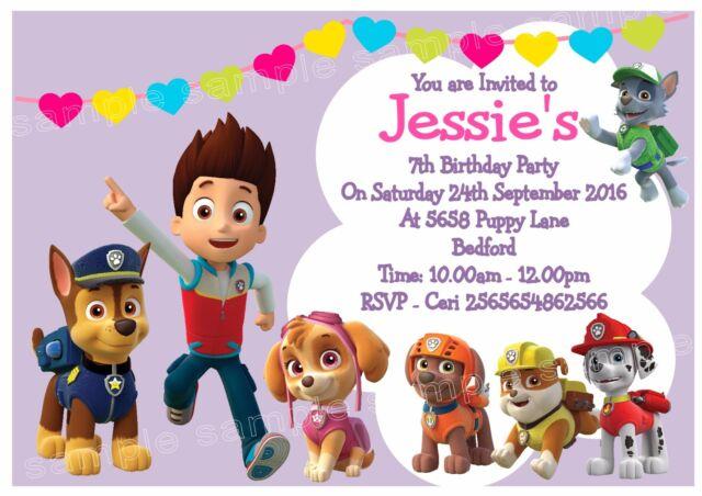 10 Personalised Paw Patrol Skye Birthday Party Invite Invitations Any Age