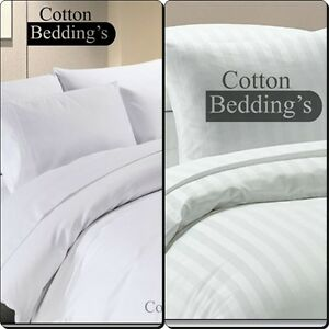 Hotel Quality1000 TC Egyption Cotton Duvetset+Fitted Sheet White Solid Superking