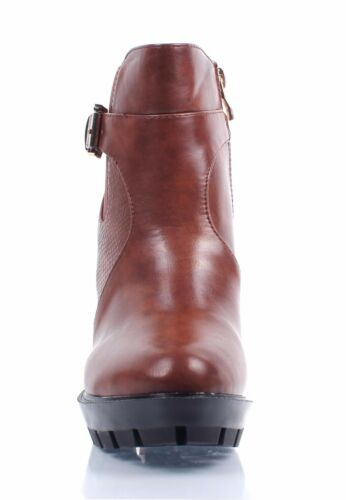 """2 Color Side ZIpper Combat Military Chunky 4.5/"""" High Heel Womens Mid-Calf Boots"""
