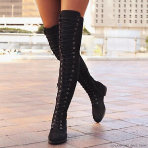 Womens Ladies Thigh High Over The Knee Low Heel Flat Lace Up Boots Shoes Size -8 MR_3061