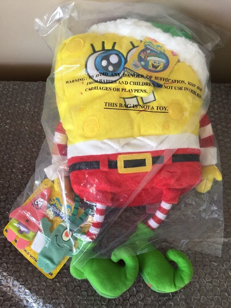 Official Macy's Christmas 2014 Spongebob Plush stuffed animal talking W  puppets
