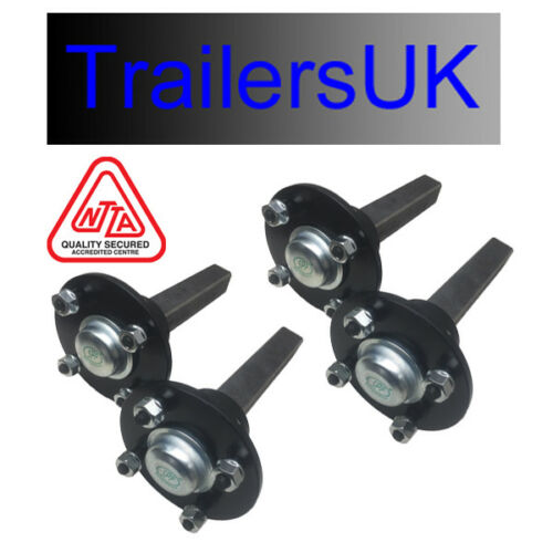 Hub /& Stub Axles for tandem trailer Sealed for life bearings PCD 4//4