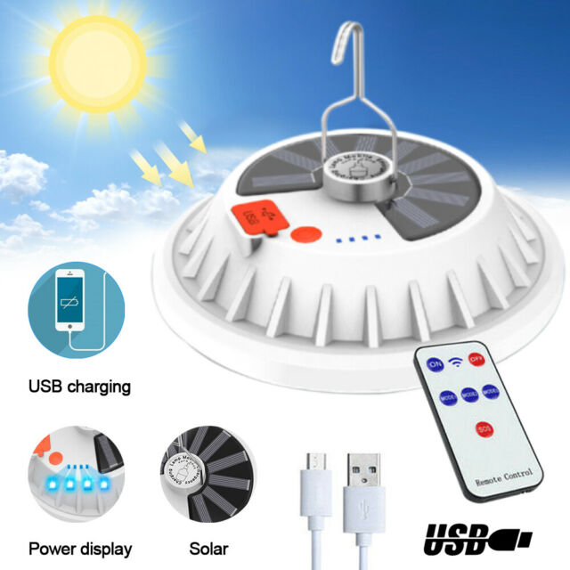 Details about  /Rechargeable 120 LED Outdoor Camping Tent Light USB /& Solar Lantern Hiking Lamp